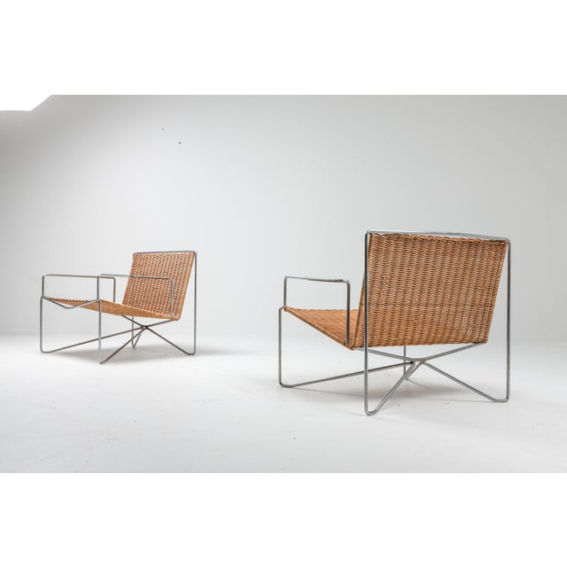 1960s Rattan and Steel Armchairs Gelderland, 1964 - a Pair For Sale - Image 5 of 13