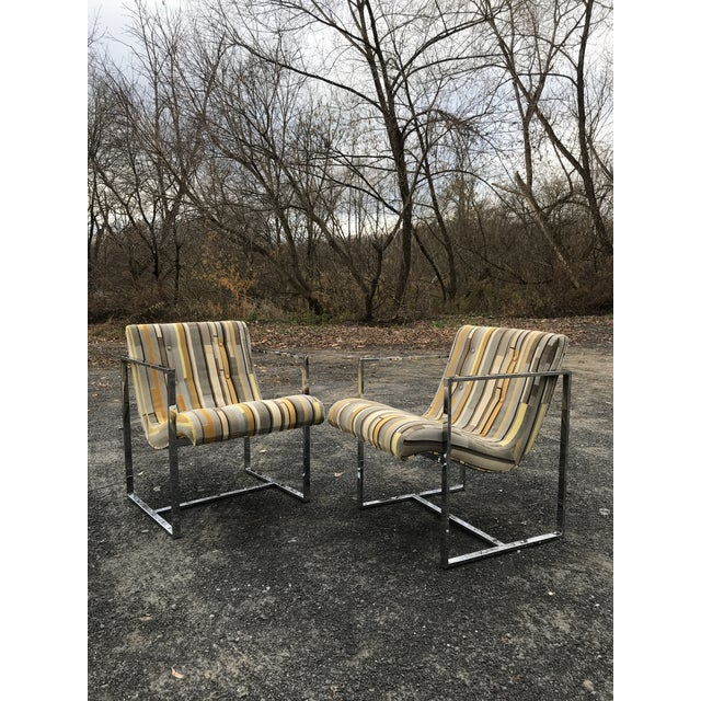 Milo Baughman Fantastic Scoop Chairs New Textural Cotton Velvet Silver-Craft For Sale - Image 4 of 13