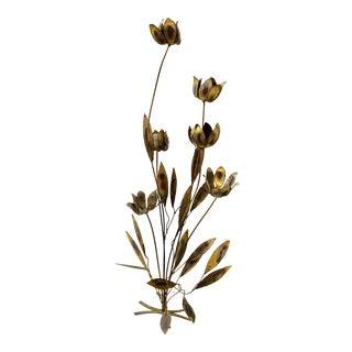 1970s Brutalist Tall Metal Brass Flower Art Sculpture For Sale