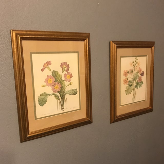 "A pair of vintage, double matted, matching framed Redoute French Botanicals. These lithographs are from the book, ""Choix..."
