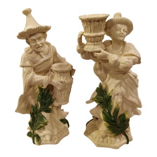 Vintage White Chinoiserie Man and Woman Candlestick Holder Figures - Set of 2 For Sale