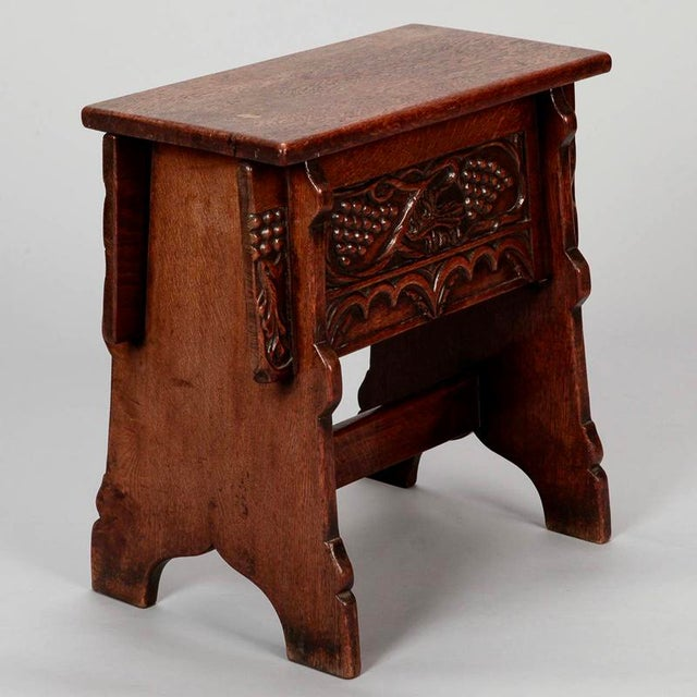 French Hand Carved Oak Stool with Grapes For Sale - Image 4 of 9