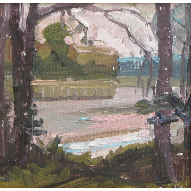 Original oil painting of a creek seen through trees by Christopher Best. Modern impressionistic style. Painted on location...
