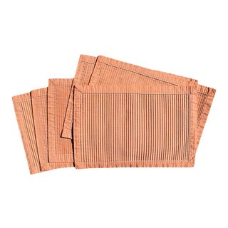 Hollywood Regency Pink Pleated Rectangular Placemats - Set of 6 For Sale