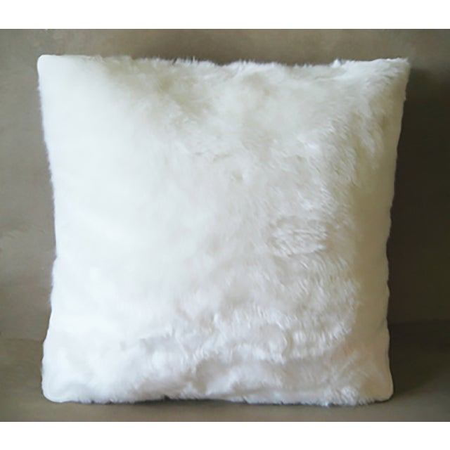 Contemporary Faux Arctic Fox Pillow in Ivory For Sale - Image 3 of 3