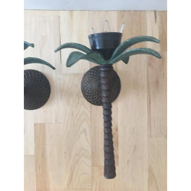 Cast Iron Palm Tree Sconces - A Pair - Image 5 of 8