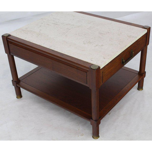 White Pair of Travertine Tops One Drawer Oiled Walnut End Side Tables For Sale - Image 8 of 13