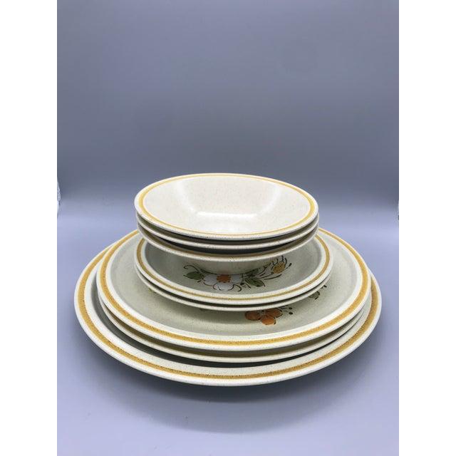 Hearthside Garden Festival's Sunshine Flowers Chop & Dinner Plates & Garden Festival Salad Plates - 9 Pieces For Sale - Image 13 of 13