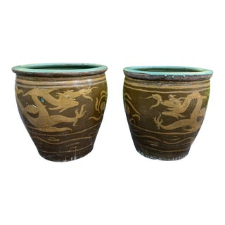Extra Large Asian Tony Duquette Style Dragon Egg Pot Ochre Turquoise Planters - a Pair For Sale