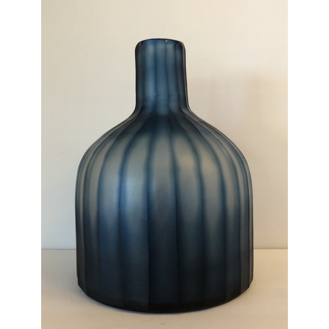 """Large Mercana Marier 2 Blue Heavy Glass Vase 10"""" Tall For Sale - Image 9 of 9"""