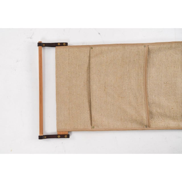 Mid-Century Modern Mid-Century Wallmount Canvas Leather Magazine Rack For Sale - Image 3 of 6