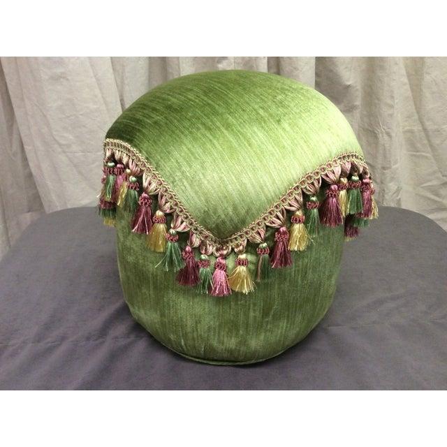 Cottage Green Velvet Tassel Ottoman For Sale - Image 3 of 7