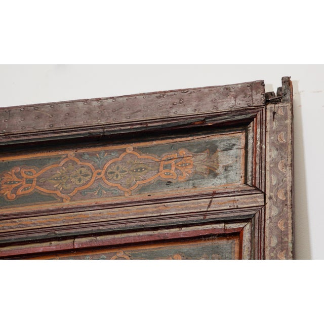 19th Century Moroccan Antique Double Door With Hand Painted Moorish Designs For Sale - Image 9 of 13