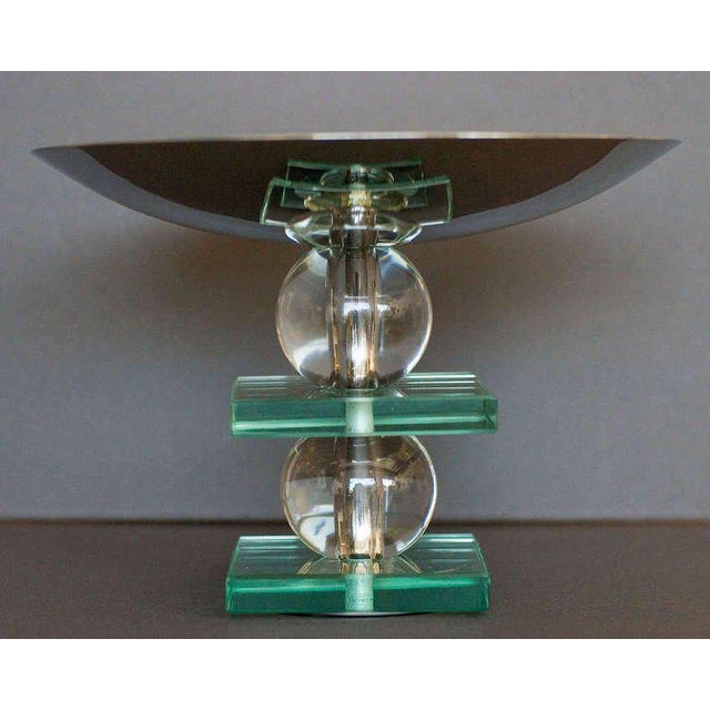 French Art Deco Crystal and Chrome Compote - 5oth Anniversary Sale For Sale - Image 4 of 4