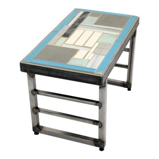 """Manhattan Matrix"" Mosaic Tile and Metal Side Table For Sale"