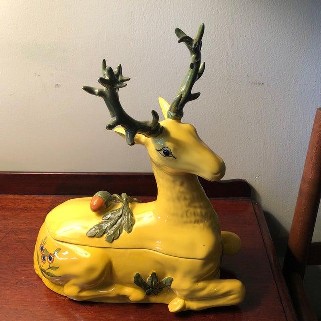 1980s Tiffany Italian Porcelain Vintage Deer Covered Box For Sale - Image 11 of 11