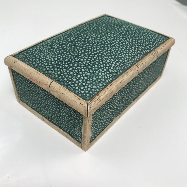 Beautiful small scale vintage green detailed photos of green box with lid. Velvet bottom to prevent scratches to...