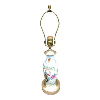 Asian Antique Hand Painted Vase Mounted as a Lamp For Sale