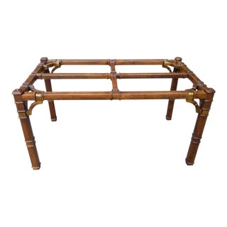 1970s Hollywood Regency Brass & Walnut Dining Table For Sale