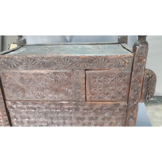 Afghanistan Dowry Dark Ebony Caved Wedding Chest For Sale - Image 10 of 10