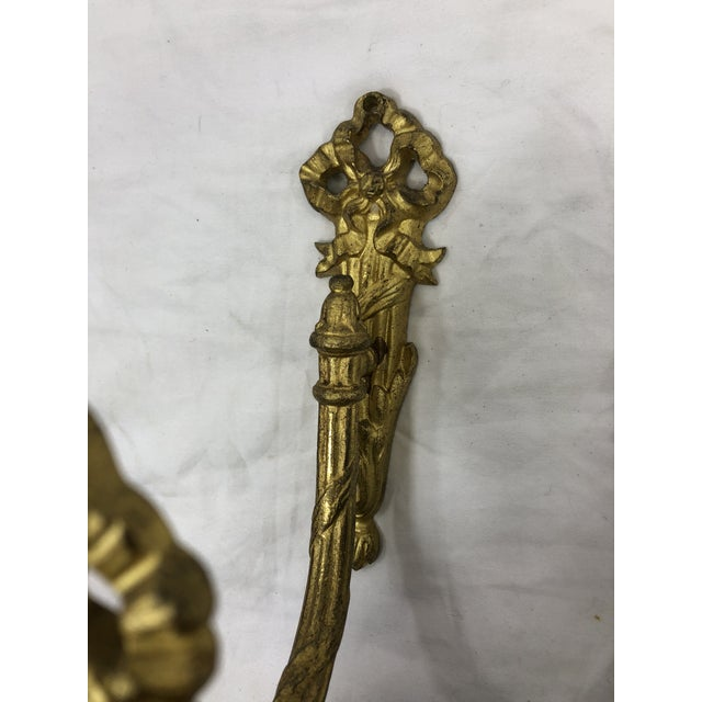 French Antique 19th Century Gilded Bronze Curtain Tie Backs or Hooks - a Pair For Sale - Image 4 of 5