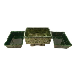 Mid-Century Green Ceramic Planters - Set of 3