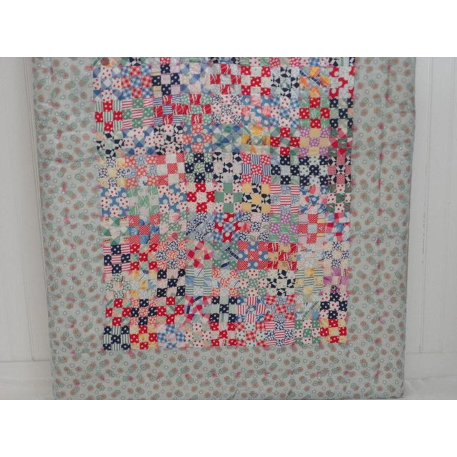 Fantastic Mounted Postage Stamp Crib Quilt from Pennsylvania For Sale In Los Angeles - Image 6 of 7