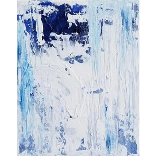 Abstract Art Blue White and Framed Painting For Sale