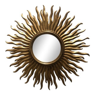 Hollywood Regency Sunburst Gilded Mirror For Sale