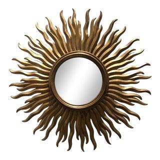 Hollywood Regency Sunburst Gilded Mirror For Sale