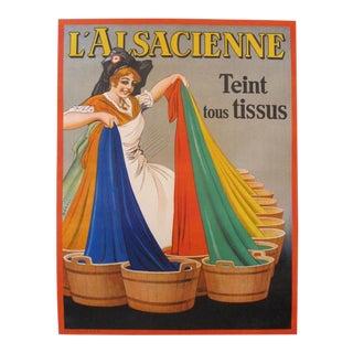 "1930's Vintage Belgian Poster - l'Alsacienne ""Teint Tous Tissus"" - Albert Dorfinant For Sale"