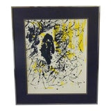 Image of Vintage Mid Century Modern Abstract Signed Framed Art For Sale
