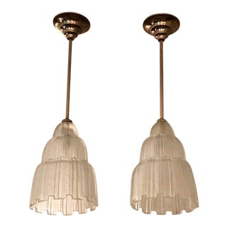 French Art Deco Waterfall Chandeliers Signed by Sabino - A Pair For Sale