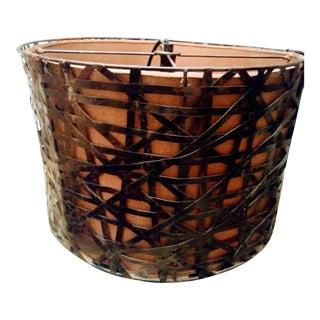 Huge Welded 3 Light Steel Strip Brutalist Drum Chandelier by Palecek For Sale