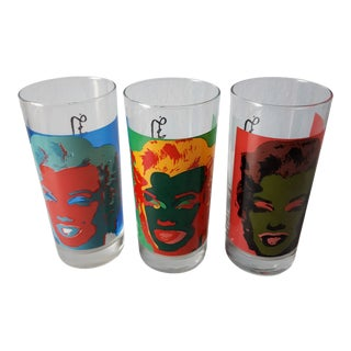 Mid Century Modern Andy Warhol Glass Tumblers - Set of 3 For Sale