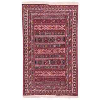Late 20th Century Vintage Persian Soumak Rug - 4′10″ × 7′10″ For Sale