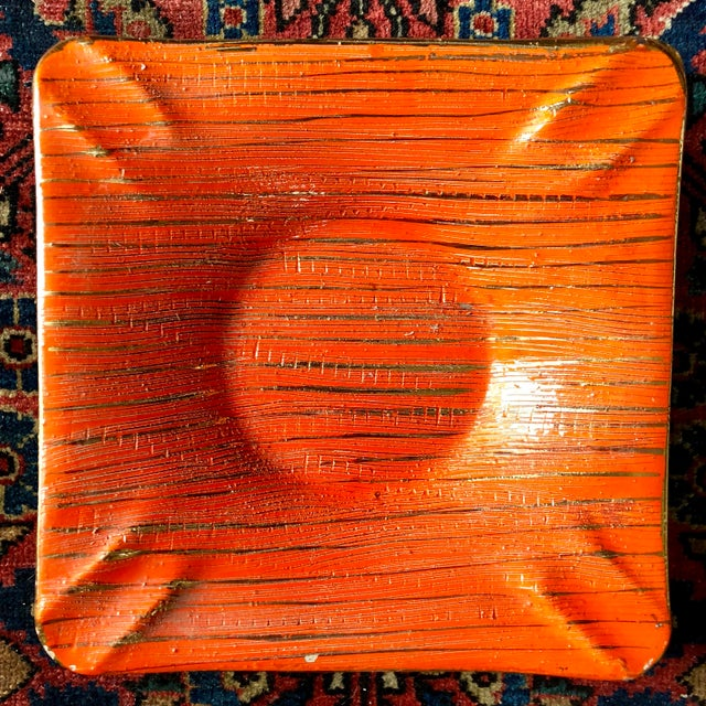 Mid Century Bitossi Orange Gold Ashtray For Sale In Buffalo - Image 6 of 6