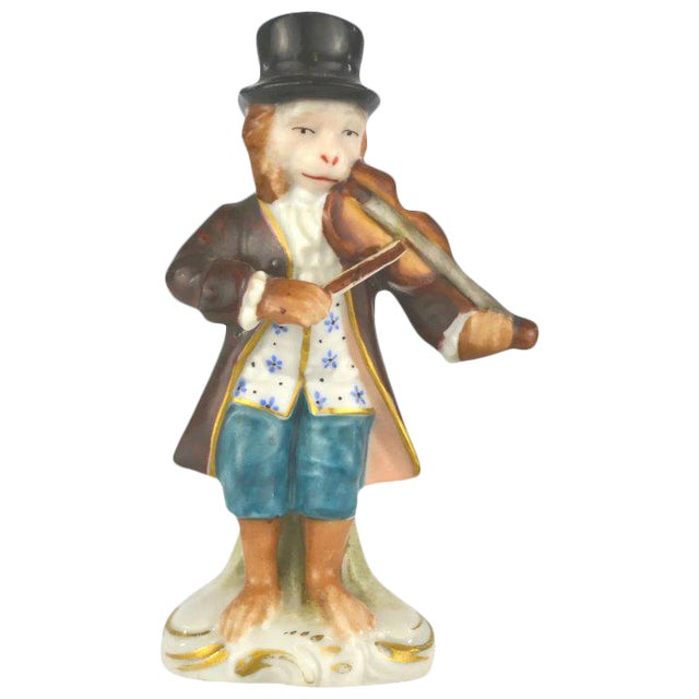 Antique Porcelain Monkey Musician, from Germany, Brown Coat For Sale