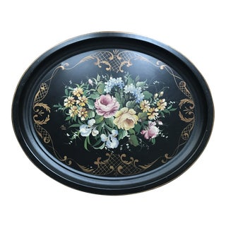 1950s Vintage Signed Hand-Painted Floral Tole Tray For Sale