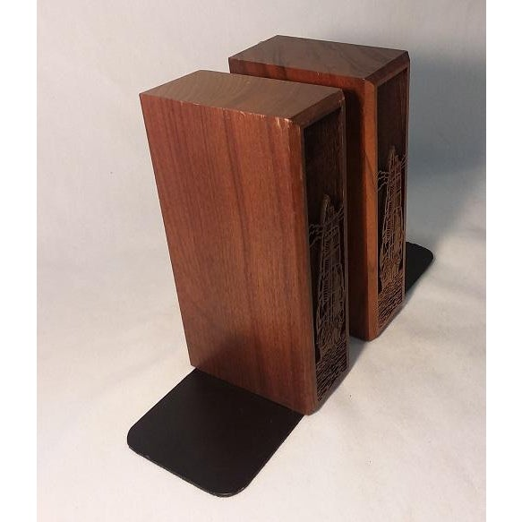 Mid-Century Modern 1970s Mid-Century Modern Carved Walnut Ship Bookends - a Pair For Sale - Image 3 of 8
