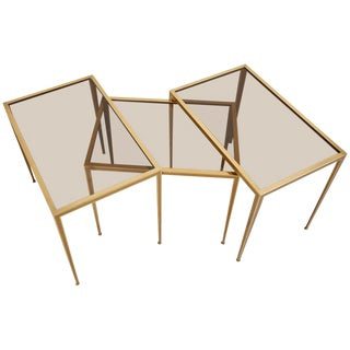 Set of Three Brass and Glass Nesting Tables by Münchner Werkstätten For Sale