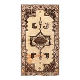 Hand-Knotted Mid-Century Vintage Oushak Runner in Beige Brown Medallion Pattern For Sale