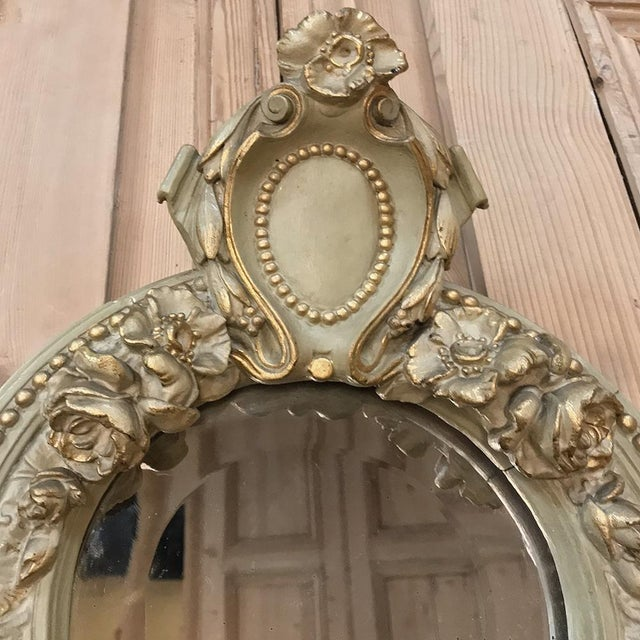 19th Century Italian Louis XVI Painted & Gilded Mirror For Sale - Image 9 of 11
