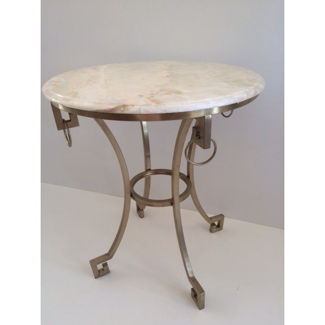 Todd Hase designed Christelle Gueridon Side table with Bianco Onyx top and bronze base. Perfect for Bedroom or Living room...