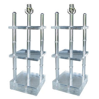 Mid-20th Century Architectural Lucite & Chrome Lamps - a Pair For Sale