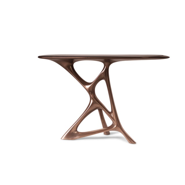 Gold Amorph Anika Console, Bronze Finish With Black Marble For Sale - Image 8 of 9