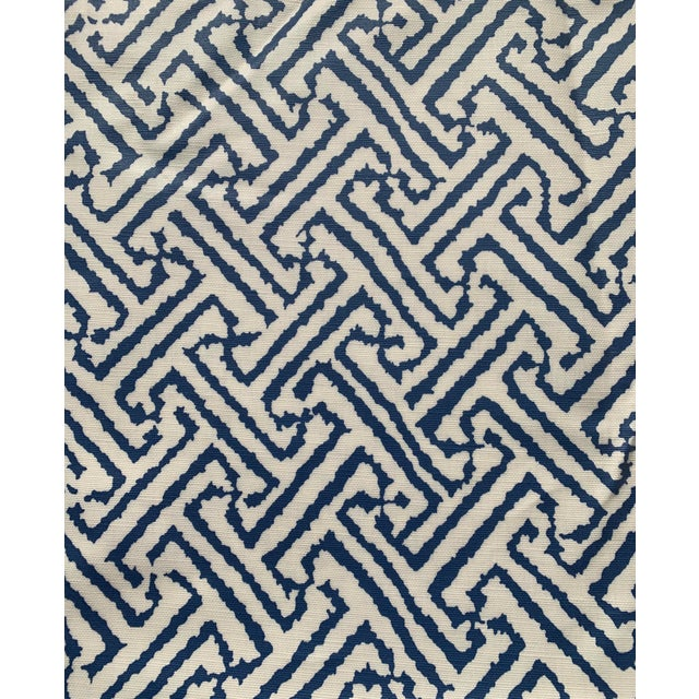 Blue 1.9 Yards Quadrille Java Grande Blue Laminated Fabric For Sale - Image 8 of 8