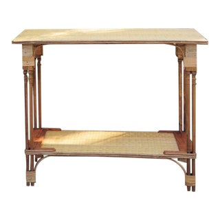 1990s Rattan Console Table For Sale