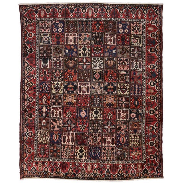 Red Antique Persian Bakhtiari Rug with Four Season Garden Design For Sale - Image 8 of 8