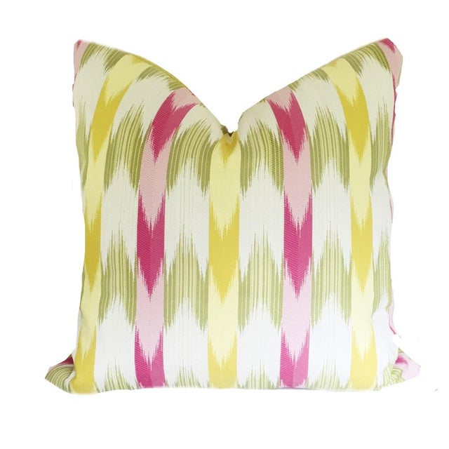 Custom made large pillow covers in a modern flame stitch pattern. The front is an eye-catching pink, green and yellow...